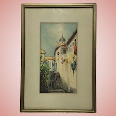 Beautiful Old Watercolor Painting In Town Church Signed, Beard Gallery