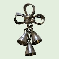 Vintage Sterling Silver Bells Pin Brooch Mexican