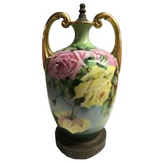Antique Limoges Roses Vase Lamp Gilded Handles Huge