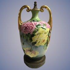 Antique Limoges Roses Vase Lamp Gilded Handles Huge