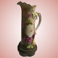 Antique Limoges Tankard Lamp With Dragon Handle Huge Floral