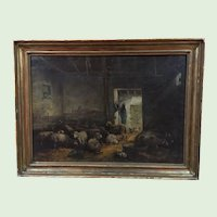"""Fine Antique Sheep Oil Painting Large 45X34"""""""