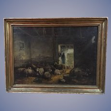 Fine Antique Sheep Oil Painting Large 45X34""