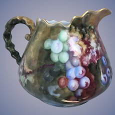 Lovely Antique Cider Pitcher Hand Painted Grapes