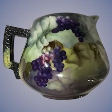 Pretty Antique Porcelain Cider Pitcher Grapes