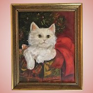 Vintage Cat Oil Painting Signed Leibe