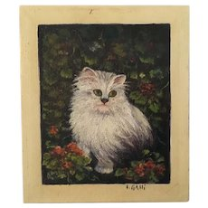 Precious Vintage Cat Oil Painting Signed Galli