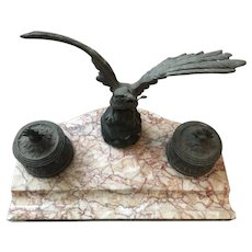 Incredible Antique Inkwell Eagle With Serpent in Mouth Marble