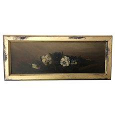 Precious Petite Pansies Antique Oil Painting