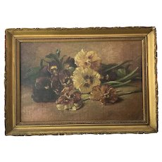 Petite Antique Pansies Oil Painting