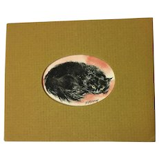 Vintage Cat Watercolor Painting Miniature Signed Berry
