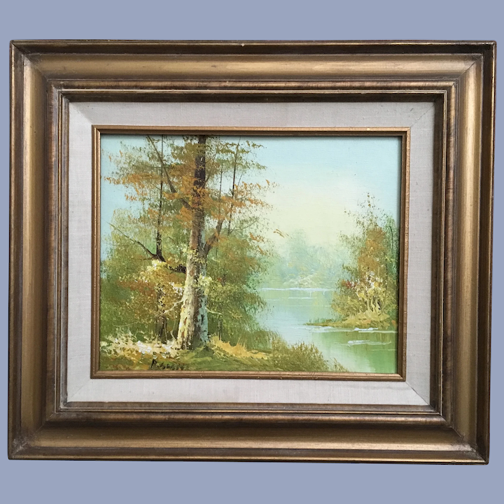 Vintage Landscape Oil Painting Signed In Love With Antiques Ruby Lane