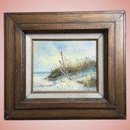 Vintage Seascape Beach Scene Oil Painting Signed S. Weatherman