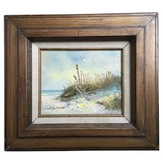 Vintage Seascape Beach Scene Oil Painting Signed S. Weatherman