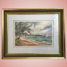 Joanne Sibley Seven Mile Beach - Cayman Signed Watercolor Print