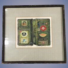 Hubert Haisoch 1977 Collagraph Tempera Collage Green Wallet - Export