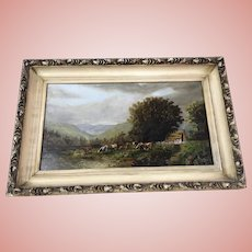 Antique Cows Oil Painting in Pasture 1833 Syracuse NY Signed