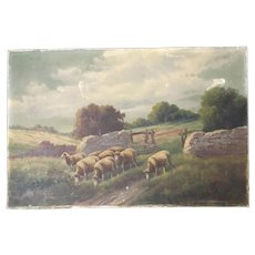 Antique Sheep in Landscape Oil Painting Signed