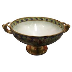 Large Antique Rosenthal Porcelain Bowl With Figural Gold Handles Hand Painted Fruit