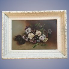 Antique Pansies Oil Painting Beautiful