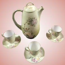 Beautiful Antique Bavarian Chocolate Set Hand Painted Pink Roses