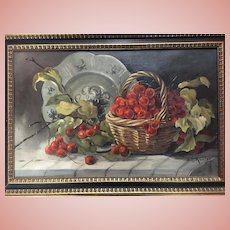Cheerful Vintage Oil Painting of Cherries Still Life Signed Kessler