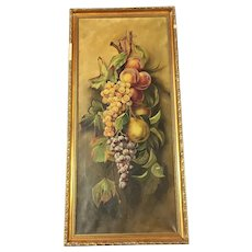 Large Antique Fruit Still Life Oil Painting Signed