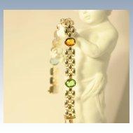 Italian Modern Design Link Bracelet with Multi Color Stones