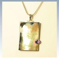 Vintage Sterling Silver Pendant w/ Amethyst by Marta Howell
