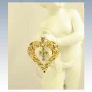 Vintage Sterling Silver Gorham Heart & Cross Pendant