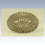 Vintage Art Deco Sterling Silver & Marcasites Large Pin Brooch