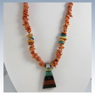 Vintage Artisan Natural Coral Necklace w/ Stone Pendant