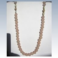 Vintage Rose Quartz & Mother of Pearl Necklace