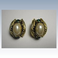 Pair of Vintage Blancas Gold Tone Clip Earrings