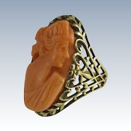 Vintage 14k Yellow Gold & Pink Coral Large Cameo Ring
