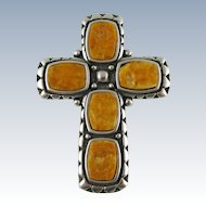 Vintage Sterling Silver Cross Pendant Pin by WJ