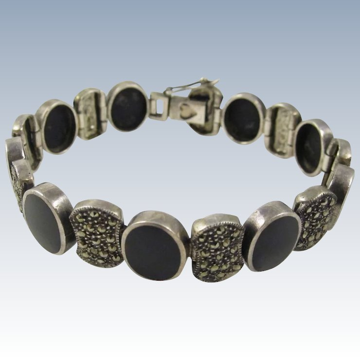 cut black facet and onyx bangle silver shop beads bracelet bracelets