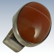 Vintage Modern Design Ring w/ Large Oval Agate 1970s