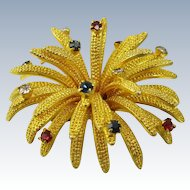 Vintage Austrian Gold Plated Starburst Brooch Pin
