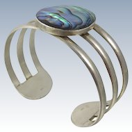 Vintage Sterling Silver Cuff Bracelet with Abalone