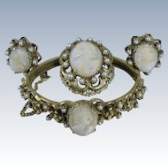 Vintage Florezna Cameo Set Bracelet Clip Earrings & Brooch