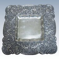 Beautiful Finnish 813 Silver Flower Square Dish Plate Finland 1957