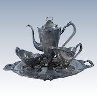 Art Nouveau Silver Plate Figural Coffee Set by Meriden 1904