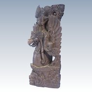Antique Balinese or Indian Wooden Sculpture Vishnu Riding Garuda