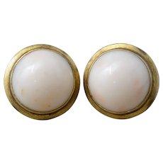 Vintage Italian 14k Yellow Gold & Large Angel Skin Coral Earrings