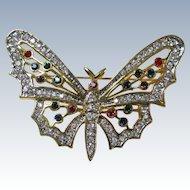 Vintage Butterfly Rhinestones Brooch Pin