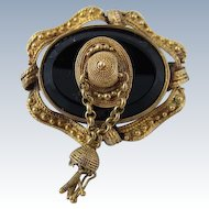 Antique Victorian 15k Yellow Gold & Black Onyx Brooch