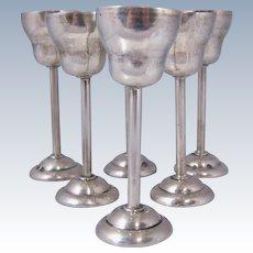 Set of Six Art Deco Polish Vodka Cups 800 Silver Cracow Poland