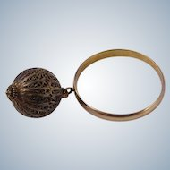 Portuguese 19k Yellow Gold Ring w/ Filigree Gold Ball Charm
