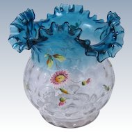 Victorian Dot Ruffled Fluted Flower Vase Clear & Blue Glass